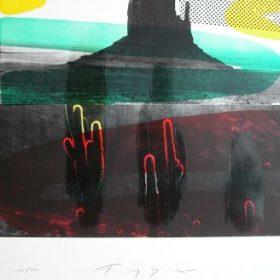 Lithographie Tony Soulié fond photo noir et blanc Monument Valley formes jaunes et bleues cactus rouges et verts