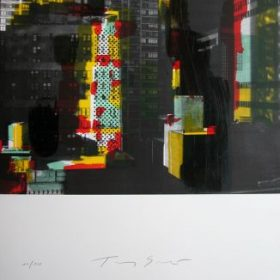 Lithographie Tony Soulié photo noir et blanc immeubles + reflets couleurs vertes jaunes et rouges