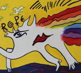 Aquagravure Jacques Villeglé fond jaune forme pattes de cheval talon et main blanche arc en ciel symboles