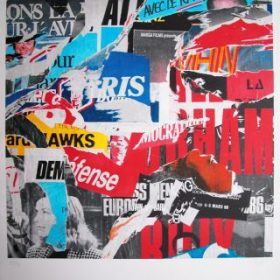 Collage Jacques Villeglé collage de journaux