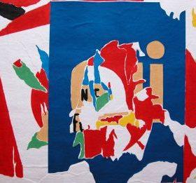 Aquagravure Jacques Villegé formes bleues rouges vertes beiges noires blanches