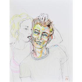 Peinture Neila Serrano Femme tenant la tête d'un homme et lui léchant la joue