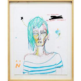 Peinture Neila Serrano femme au cheveux bleus portant une marinière