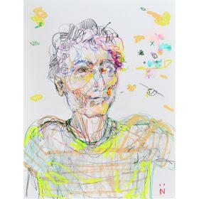 Peinture Neila Serrano Homme coloré sur fond blanc taché de couleurs