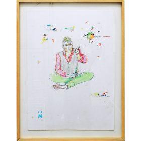 Peinture Neila Serrano homme assis en tailleur pointant le doigt