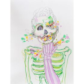 Peinture Neila Serrano Femme squelette tenant dans sa main un bouquet de fleurs fleurs sortent par son oeil ses oreilles et sa bouche
