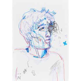 Peinture Neila Serrano Homme regardant de côté traits bleus et rouges