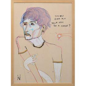 Peinture Neila Serrano homme avec bras tordu comme une nouille
