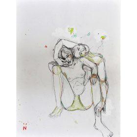 Peinture Neila Serrano Femme seins nus et homme la prenant dans ses bras