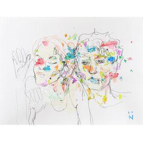 Peinture Neila Serrano homme avec main sur épaule d'une femme