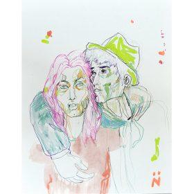 Peinture Neila Serrano femme au cheveux roses et homme au chapeau vert passant son bras autour du cou
