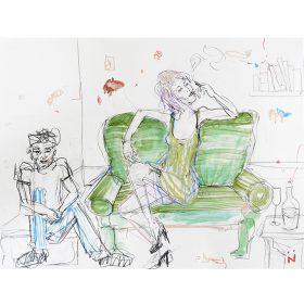 Peinture Neila Serrano femme en robe verte assise sur un canapé vert + garçon assis parterre