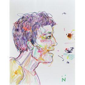 Peinture Neila Serrano Homme de côté parlant