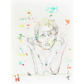 Peinture Neila Serrano Femme se bouchant les oreilles avec ses doigts