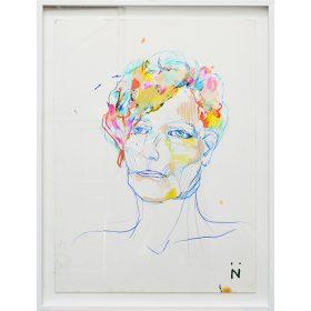 Peinture Neila Serrano Femme cheveux colorés fond blanc crayon bic