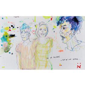 Peinture Neila Serrano Femme et hommes sur fond blanc taché de couleurs