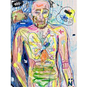 Peinture Neila Serrano Homme de face vision interne de son corps