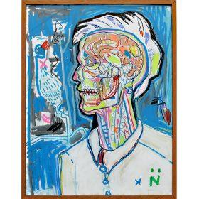 Peinture Neila Serrano Homme vision interne du corps fond bleu