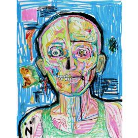 Peinture Neila Serrano visage vision interne du corps fond bleu