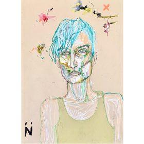Peinture Neila Serrano Homme de face au cheveux bleus fond beige