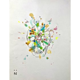 Peinture Neila Serrano Tête de mort fleurie sur fond blanc