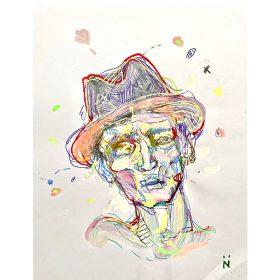 Peinture Neila Serrano Homme avec chapeau