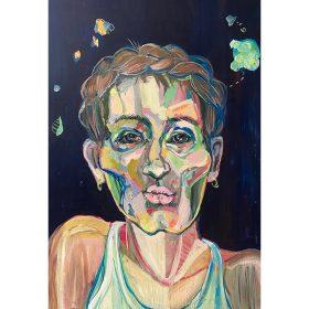 Peinture Neila Serrano Femme de face sur fond noir