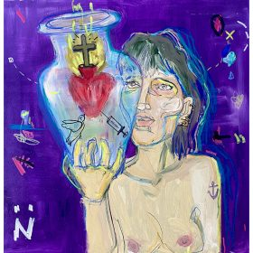 Peinture Neila Serrano Femme seins nus tenant un bocal avec une croix en feux + seringue + colombe fond violet