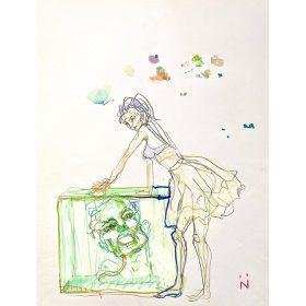 Dessin Neila Serrano Femme en jupe et soutien gorge mains posées sur une boite contenant une grande tête
