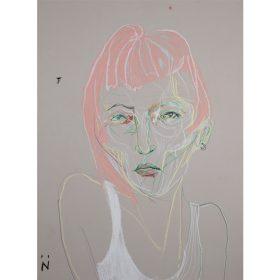 Peinture Neila Serrano Femme de face aux cheveux roses fond gris