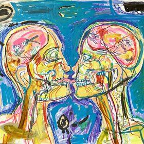 Peinture Neila Serrano Homme et femme s'embrassant vision interne de leur corps fond bleu