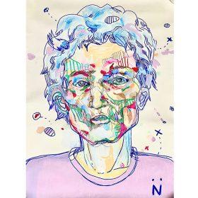 Peinture Neila Serrano Homme de face aux cheveux bleus fond beige