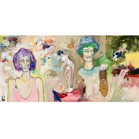 Peinture Neila Serrano femme et homme de face femme entière seins nus yeux barrés