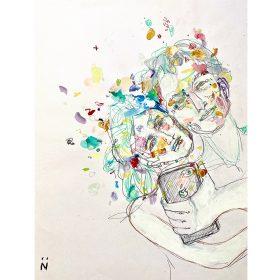 Dessin Neila Serrano Femme enlaçant un homme et prenant un selfie d'eux fond blanc taché de couleurs