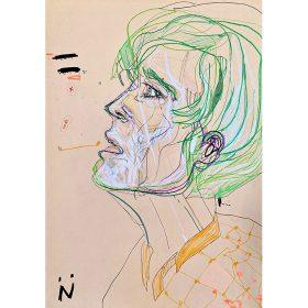 Peinture Neila Serrano homme de côté aux cheveux verts fond beige