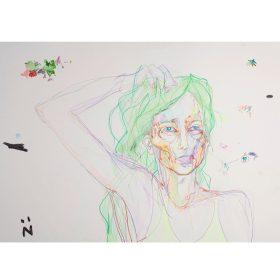 Peinture Neila Serrano Femme se tenants ses cheveux verts de face