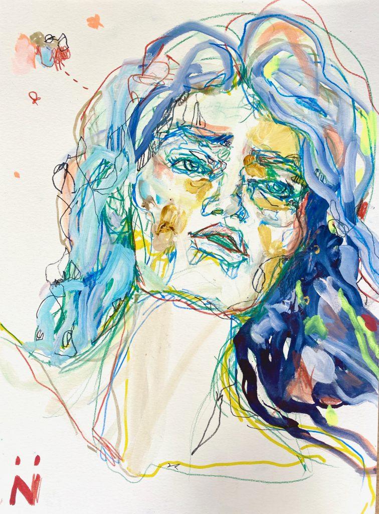 Peinture Neila Serrano femme cheveux bleus de face fond blanc