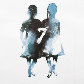 Peinture - Silhouettes de jumelles - bleues er noires sur fond blanc