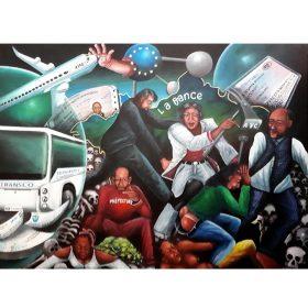 Peinture - Bodo Fils - Hommes et femmes africains - avion - carte d'identité - squelettes - car - billets - clou et marteau - drapeau européen - main