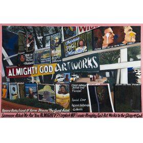 Peinture - Almighty God - Panneaux publicitaires - Ecritures noires sur rose + blanches