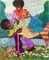 Collage - Franklin Mbungu - Homme en tenu disco porte femme sirène - fond lac et arbre - herbe et fleurs