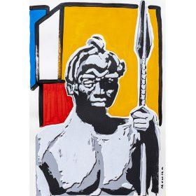 Peinture - Kouka Ntadi - Portrait - Guerrier Bantu - Fond géométrique de rouge, bleu, blanc et jaune