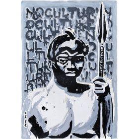 Peinture - Kouka Ntadi - Portrait - Guerrier Bantu - Fond gris avec