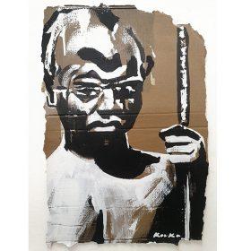 Peinture - Kouka Ntadi - Portrait - Guerrier Bantu - Carton - Noir et blanc