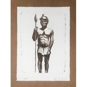 Peinture - Kouka Ntadi - Portrait - Guerrier Bantu - Noir et blanc - papier Craft - fond blanc
