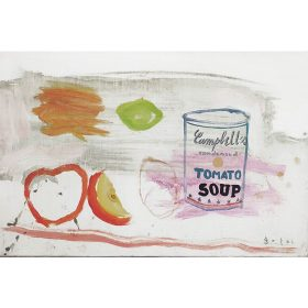 Peinture - Gopal Dagnogo - Boite de conserve - pomme - citron verre - poissons