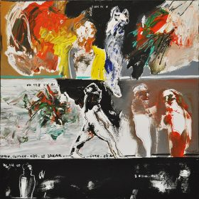 Peinture - Soly Cissé - Personnages blancs, rouges, noirs, bleus - plusieurs