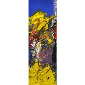 Peinture - Soly Cissé - Personnages noirs et rouges - fond bleu et jaune