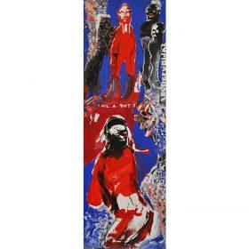Peinture - Soly Cissé - Personnages rouges et noirs - fond bleu
