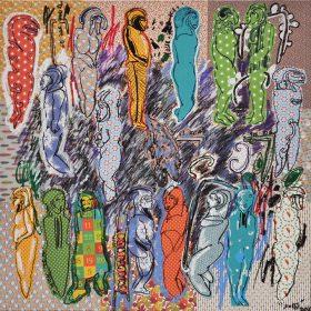 Peinture - Soly Cissé - Personnages colorés en rang